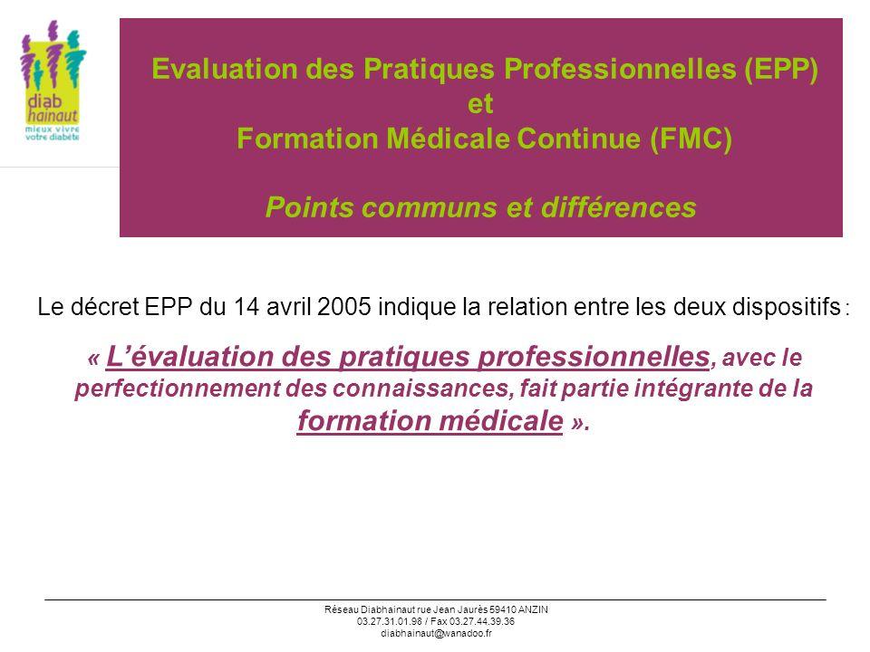 Réseau Diabhainaut rue Jean Jaurès 59410 ANZIN 03.27.31.01.98 / Fax 03.27.44.39.36 diabhainaut@wanadoo.fr EPP/FMC: points communs et différences FMC Obligation quinquennale Début: .