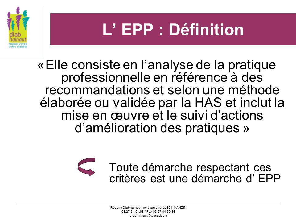 Réseau Diabhainaut rue Jean Jaurès 59410 ANZIN 03.27.31.01.98 / Fax 03.27.44.39.36 diabhainaut@wanadoo.fr L EPP : comment la satisfaire .