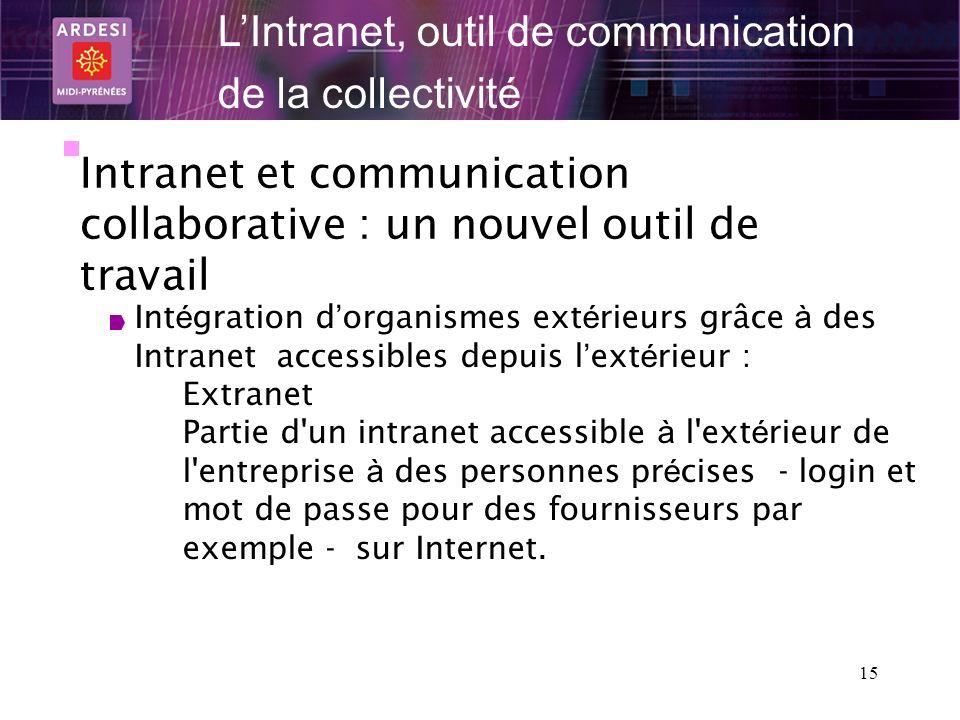 15 LIntranet, outil de communication de la collectivité Intranet et communication collaborative : un nouvel outil de travail Int é gration d organisme
