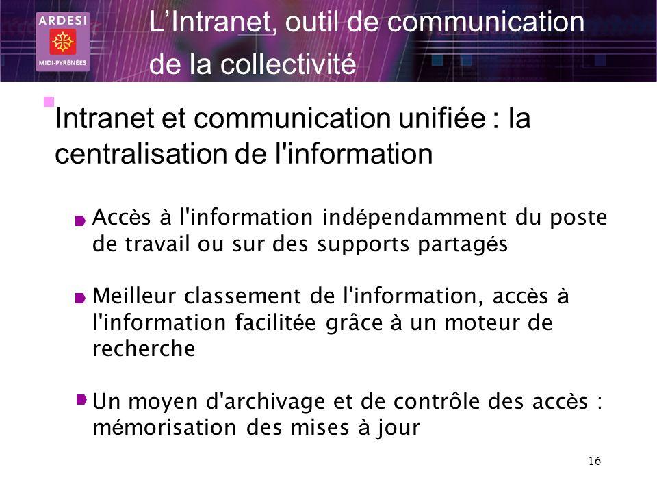 16 LIntranet, outil de communication de la collectivité Intranet et communication unifiée : la centralisation de l'information Acc è s à l'information