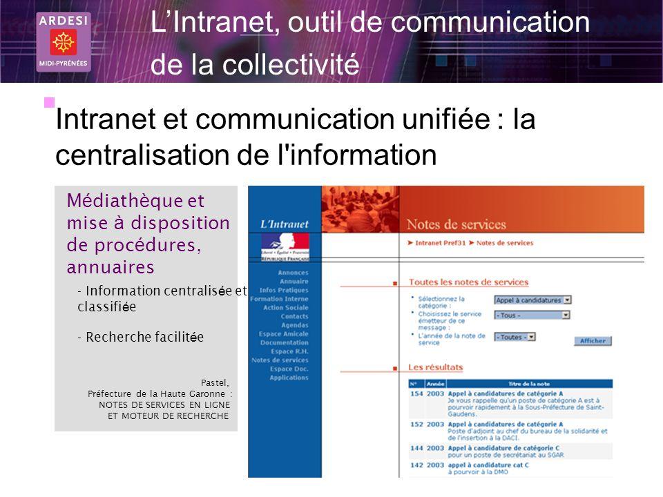 17 LIntranet, outil de communication de la collectivité Intranet et communication unifiée : la centralisation de l'information M é diath è que et mise