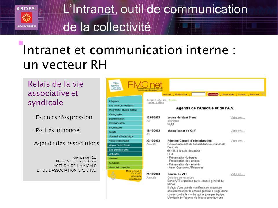 20 LIntranet, outil de communication de la collectivité Intranet et communication interne : un vecteur RH Relais de la vie associative et syndicale -