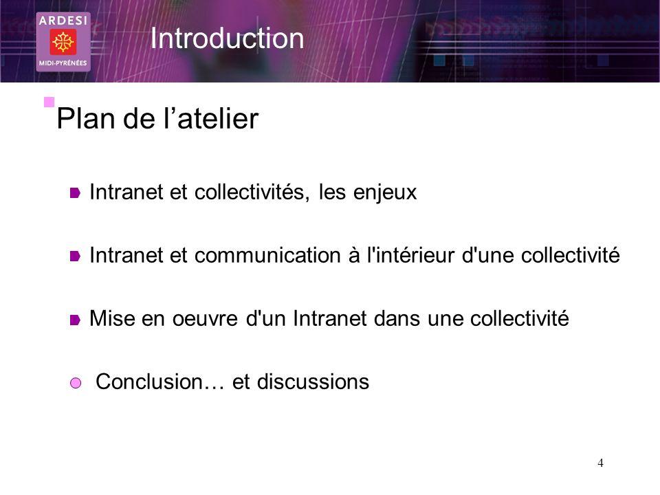 4 Plan de latelier Intranet et collectivités, les enjeux Intranet et communication à l'intérieur d'une collectivité Mise en oeuvre d'un Intranet dans
