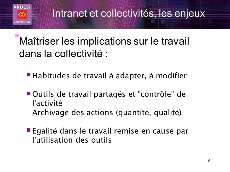 6 Intranet et collectivités, les enjeux Maîtriser les implications sur le travail dans la collectivité : Habitudes de travail à adapter, à modifier Ou