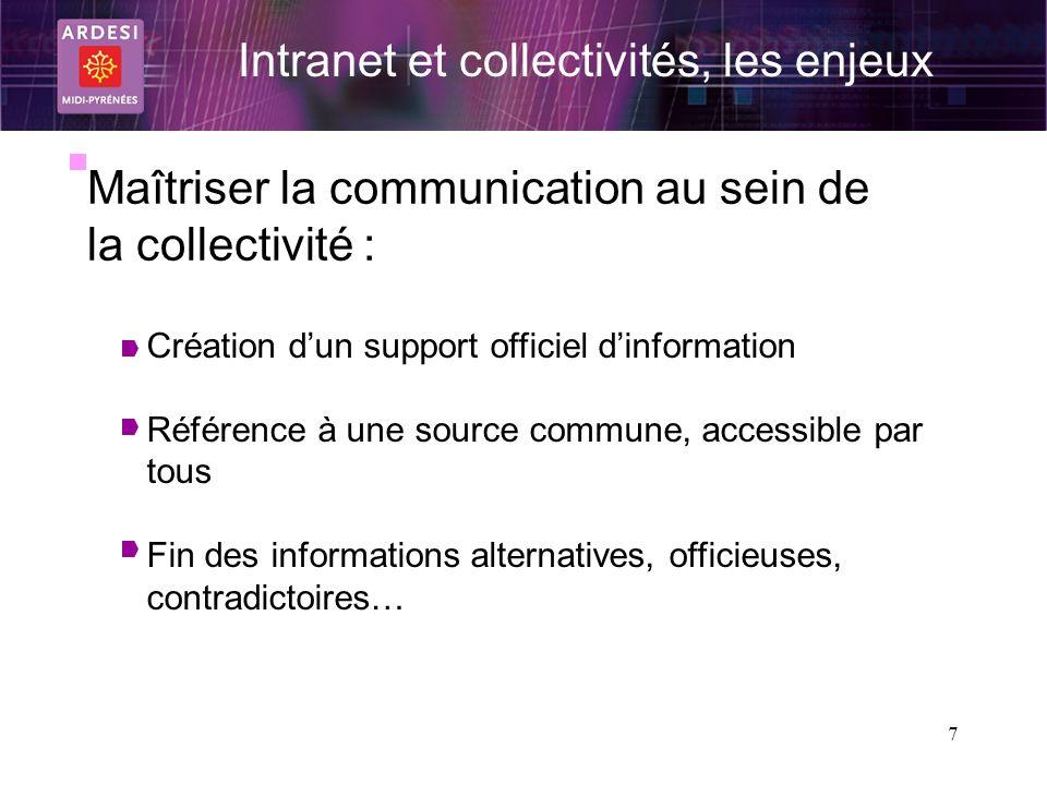 7 Intranet et collectivités, les enjeux Maîtriser la communication au sein de la collectivité : Création dun support officiel dinformation Référence à