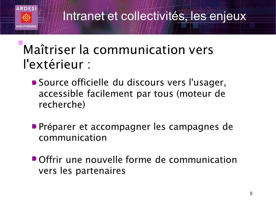 8 Intranet et collectivités, les enjeux Maîtriser la communication vers l'extérieur : Source officielle du discours vers l'usager, accessible facileme