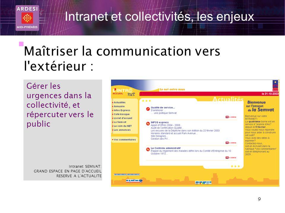 9 Intranet et collectivités, les enjeux Maîtriser la communication vers l'extérieur : G é rer les urgences dans la collectivit é, et r é percuter vers