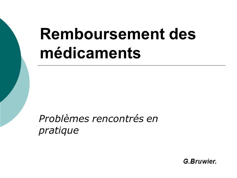 Remboursement des médicaments Problèmes rencontrés en pratique G.Bruwier.