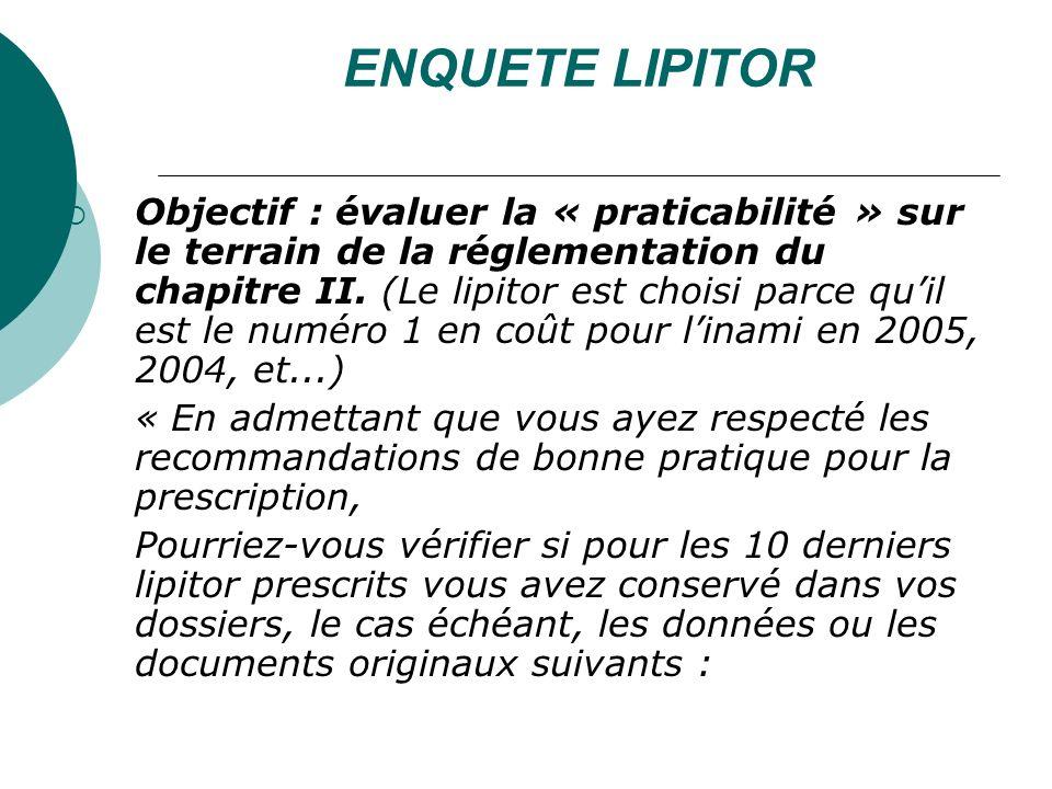ENQUETE LIPITOR Objectif : évaluer la « praticabilité » sur le terrain de la réglementation du chapitre II.