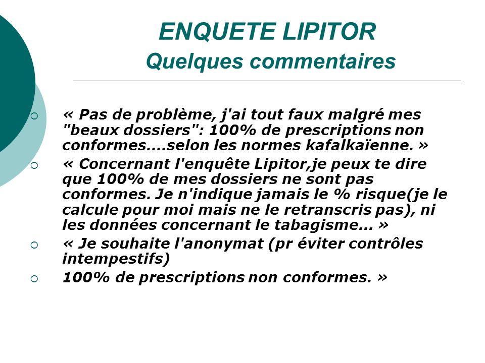 ENQUETE LIPITOR Quelques commentaires « Pas de problème, j ai tout faux malgré mes beaux dossiers : 100% de prescriptions non conformes....selon les normes kafalkaïenne.