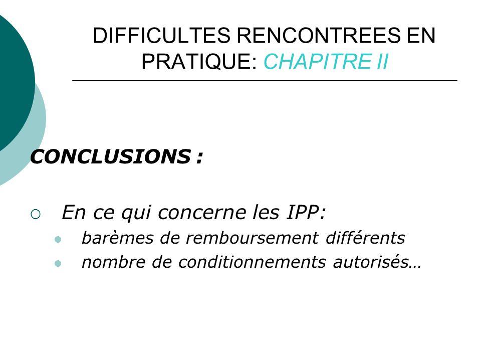 DIFFICULTES RENCONTREES EN PRATIQUE: CHAPITRE II CONCLUSIONS : En ce qui concerne les IPP: barèmes de remboursement différents nombre de conditionnements autorisés…