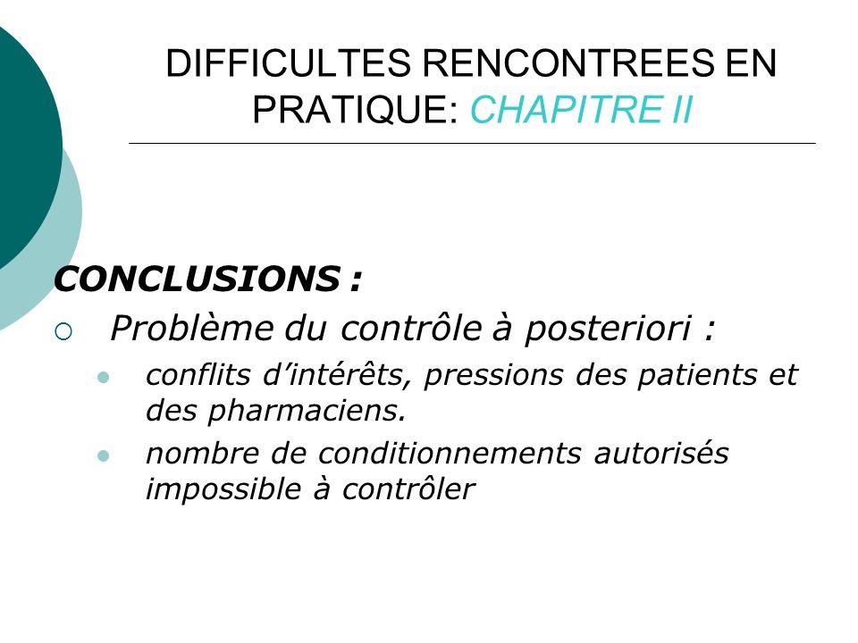 DIFFICULTES RENCONTREES EN PRATIQUE: CHAPITRE II CONCLUSIONS : Problème du contrôle à posteriori : conflits dintérêts, pressions des patients et des pharmaciens.