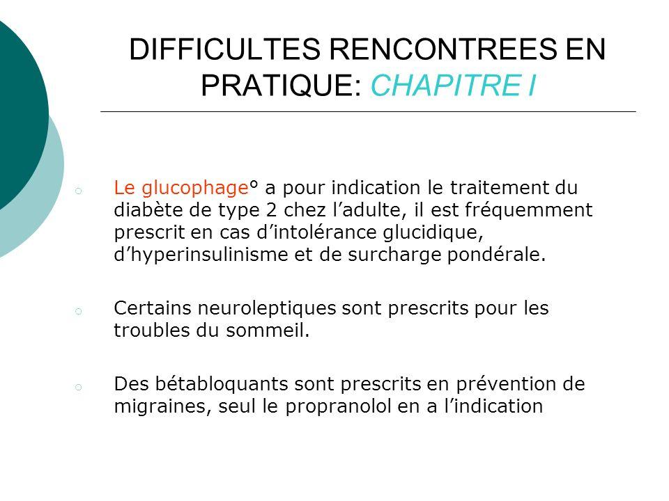 DIFFICULTES RENCONTREES EN PRATIQUE: CHAPITRE I o Le glucophage° a pour indication le traitement du diabète de type 2 chez ladulte, il est fréquemment prescrit en cas dintolérance glucidique, dhyperinsulinisme et de surcharge pondérale.
