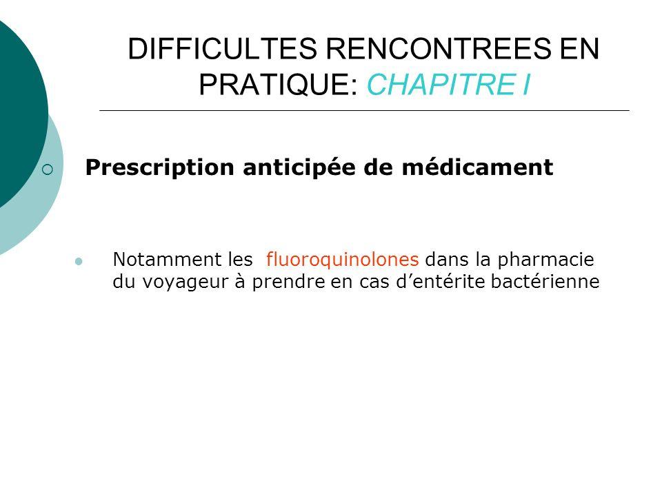 DIFFICULTES RENCONTREES EN PRATIQUE: CHAPITRE I Prescription anticipée de médicament Notamment les fluoroquinolones dans la pharmacie du voyageur à prendre en cas dentérite bactérienne