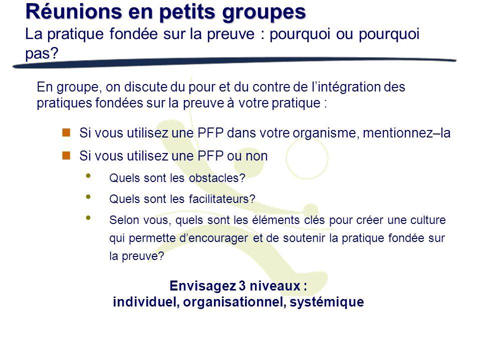Réunions en petits groupes Réunions en petits groupes La pratique fondée sur la preuve : pourquoi ou pourquoi pas? Si vous utilisez une PFP dans votre