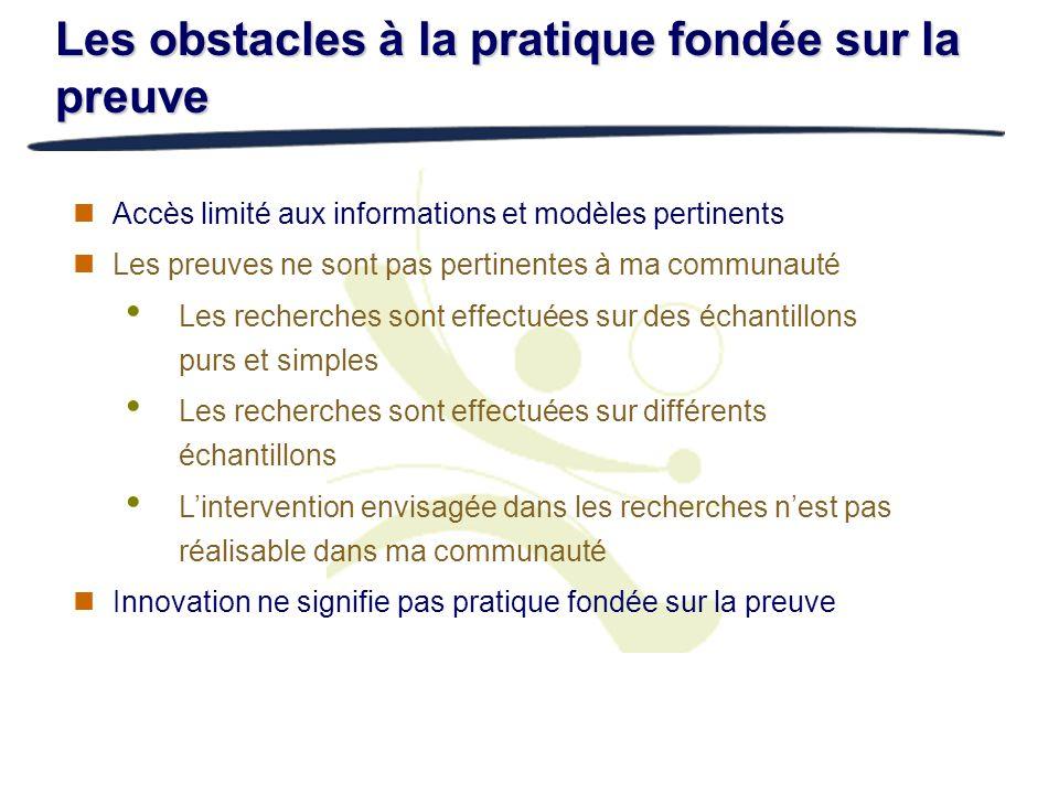 Les obstacles à la pratique fondée sur la preuve Accès limité aux informations et modèles pertinents Les preuves ne sont pas pertinentes à ma communau
