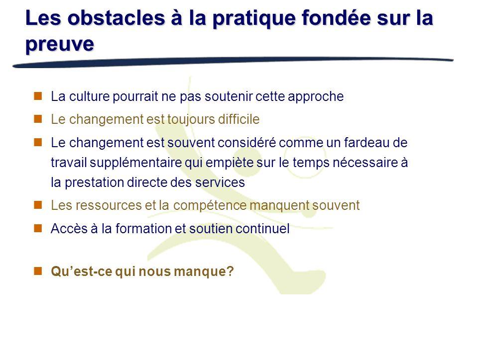 Les obstacles à la pratique fondée sur la preuve La culture pourrait ne pas soutenir cette approche Le changement est toujours difficile Le changement