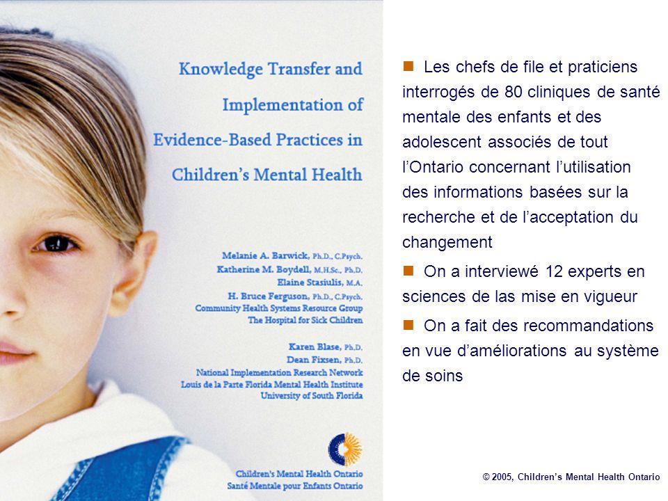 Les chefs de file et praticiens interrogés de 80 cliniques de santé mentale des enfants et des adolescent associés de tout lOntario concernant lutilis