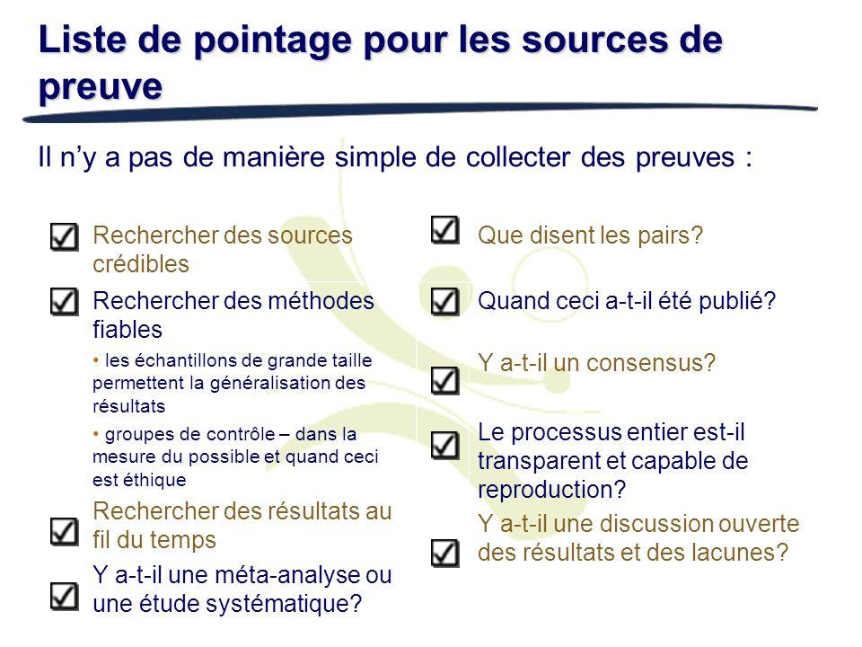 Liste de pointage pour les sources de preuve Il ny a pas de manière simple de collecter des preuves : Rechercher des sources crédibles Que disent les