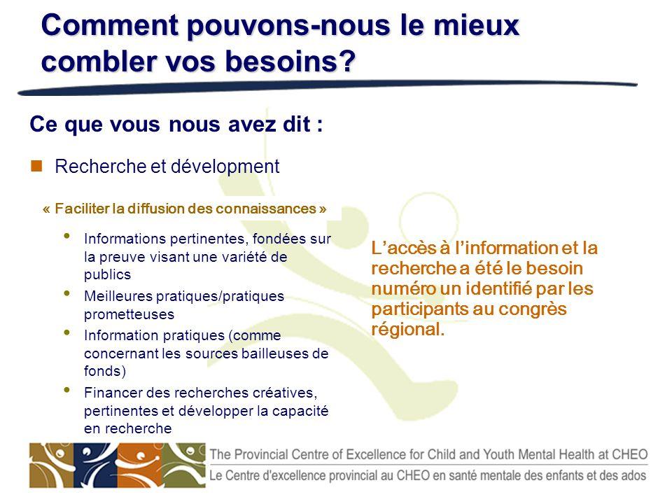 Recherche et dévelopment Informations pertinentes, fondées sur la preuve visant une variété de publics Meilleures pratiques/pratiques prometteuses Inf