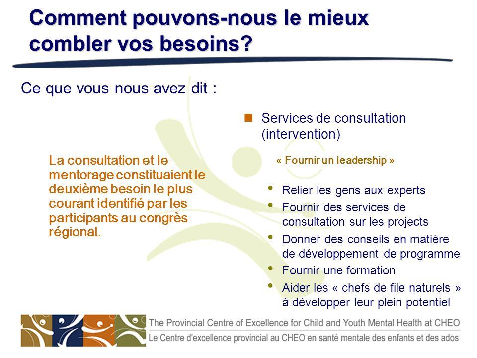 Services de consultation (intervention) Relier les gens aux experts Fournir des services de consultation sur les projects Donner des conseils en matiè