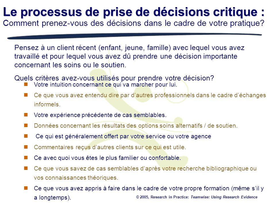 Le processus de prise de décisions critique : Comment prenez-vous des décisions dans le cadre de votre pratique? Pensez à un client récent (enfant, je
