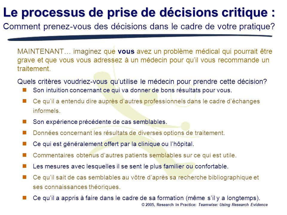 Le processus de prise de décisions critique : Comment prenez-vous des décisions dans le cadre de votre pratique? MAINTENANT… imaginez que vous avez un