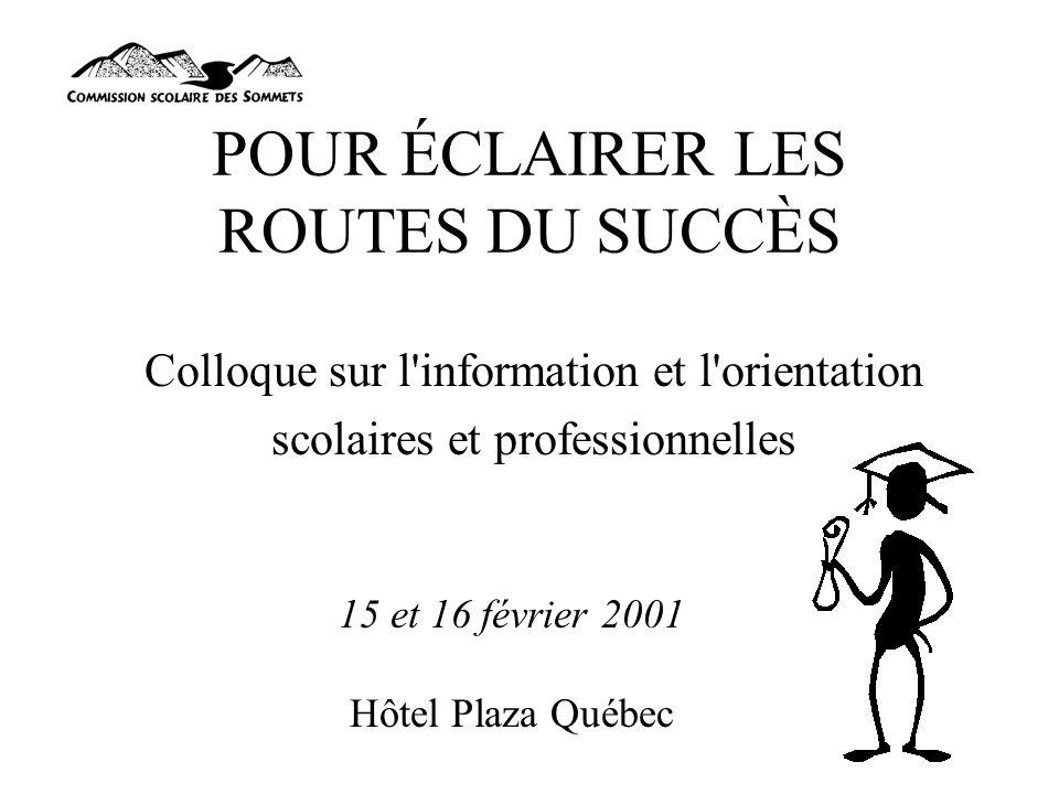 POUR ÉCLAIRER LES ROUTES DU SUCCÈS Colloque sur l information et l orientation scolaires et professionnelles 15 et 16 février 2001 Hôtel Plaza Québec