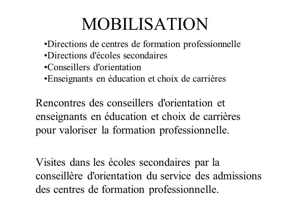 MOBILISATION Rencontres des conseillers d orientation et enseignants en éducation et choix de carrières pour valoriser la formation professionnelle.