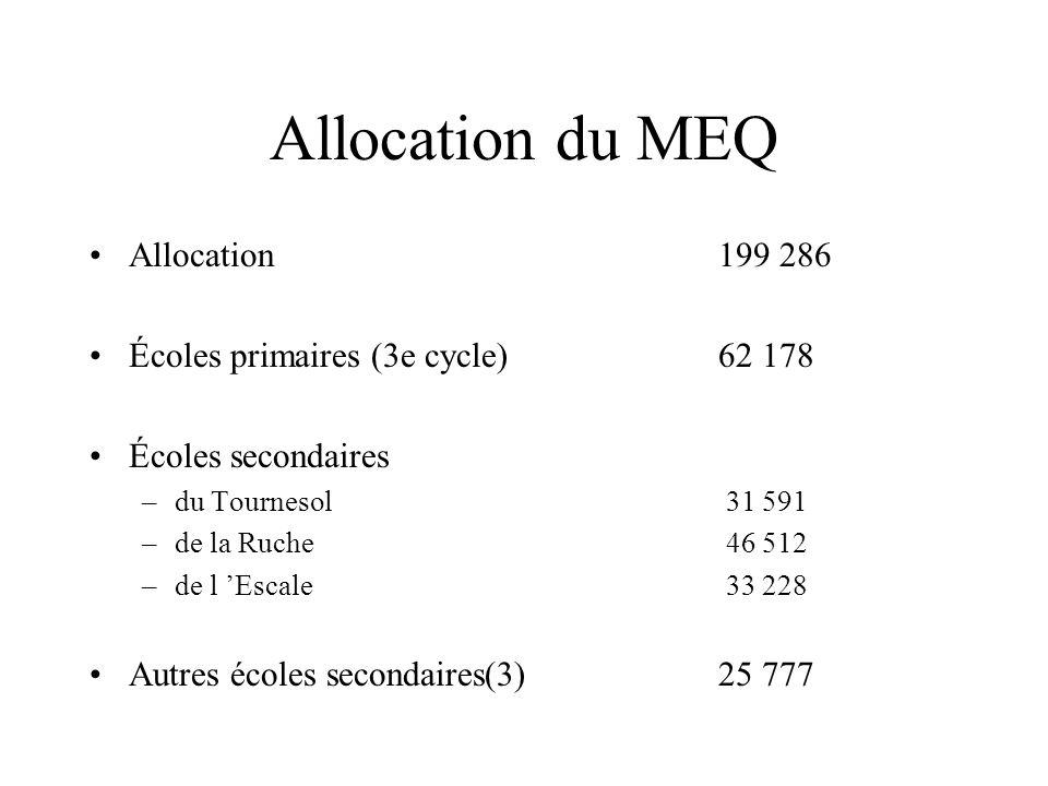 Allocation du MEQ Allocation199 286 Écoles primaires (3e cycle) 62 178 Écoles secondaires –du Tournesol 31 591 –de la Ruche 46 512 –de l Escale 33 228 Autres écoles secondaires(3) 25 777