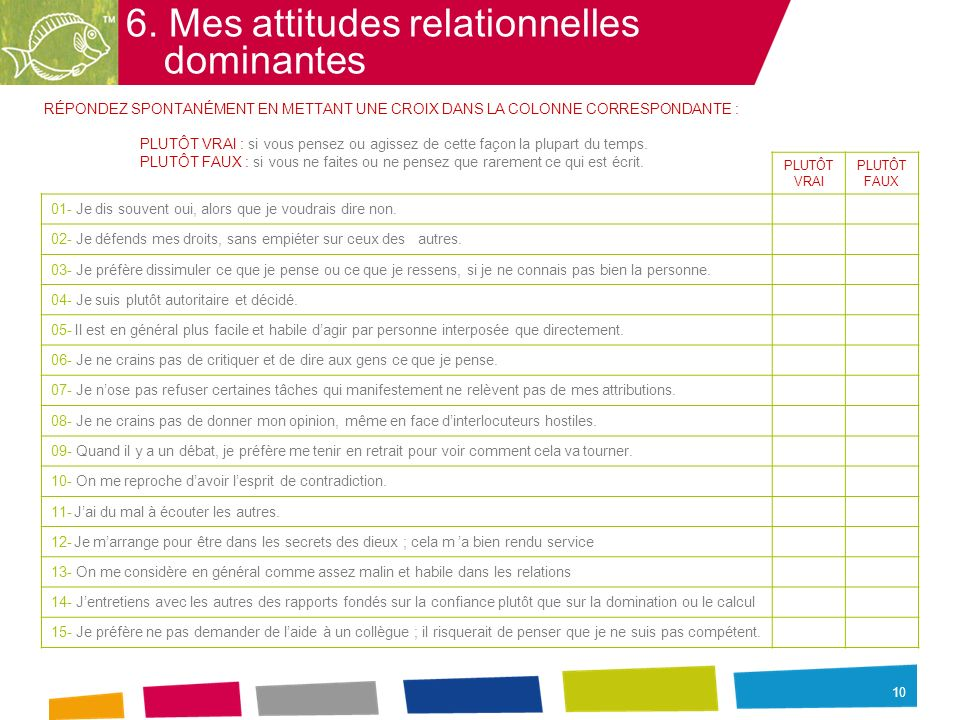10 6. Mes attitudes relationnelles dominantes RÉPONDEZ SPONTANÉMENT EN METTANT UNE CROIX DANS LA COLONNE CORRESPONDANTE : PLUTÔT VRAI : si vous pensez