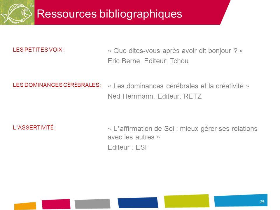 25 Ressources bibliographiques LES PETITES VOIX : « Que dites-vous apr è s avoir dit bonjour ? » Eric Berne. Editeur: Tchou LES DOMINANCES C É R É BRA