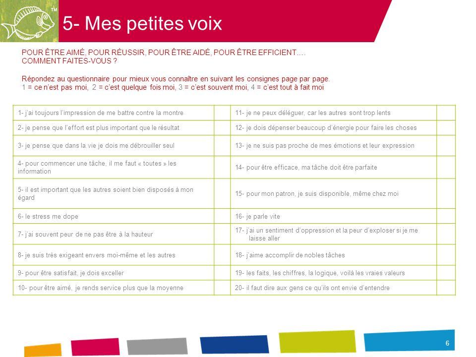 6 5- Mes petites voix POUR ÊTRE AIMÉ, POUR RÉUSSIR, POUR ÊTRE AIDÉ, POUR ÊTRE EFFICIENT…. COMMENT FAITES-VOUS ? Répondez au questionnaire pour mieux v