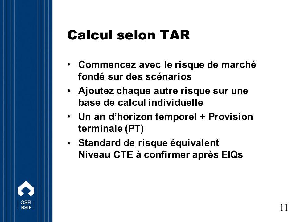 Calcul selon TAR Commencez avec le risque de marché fondé sur des scénarios Ajoutez chaque autre risque sur une base de calcul individuelle Un an dhorizon temporel + Provision terminale (PT) Standard de risque équivalent Niveau CTE à confirmer après EIQs 11