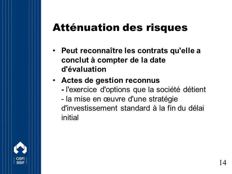 Atténuation des risques Peut reconnaître les contrats qu elle a conclut à compter de la date d évaluation Actes de gestion reconnus - l exercice d options que la société détient - la mise en œuvre d une stratégie d investissement standard à la fin du délai initial 14
