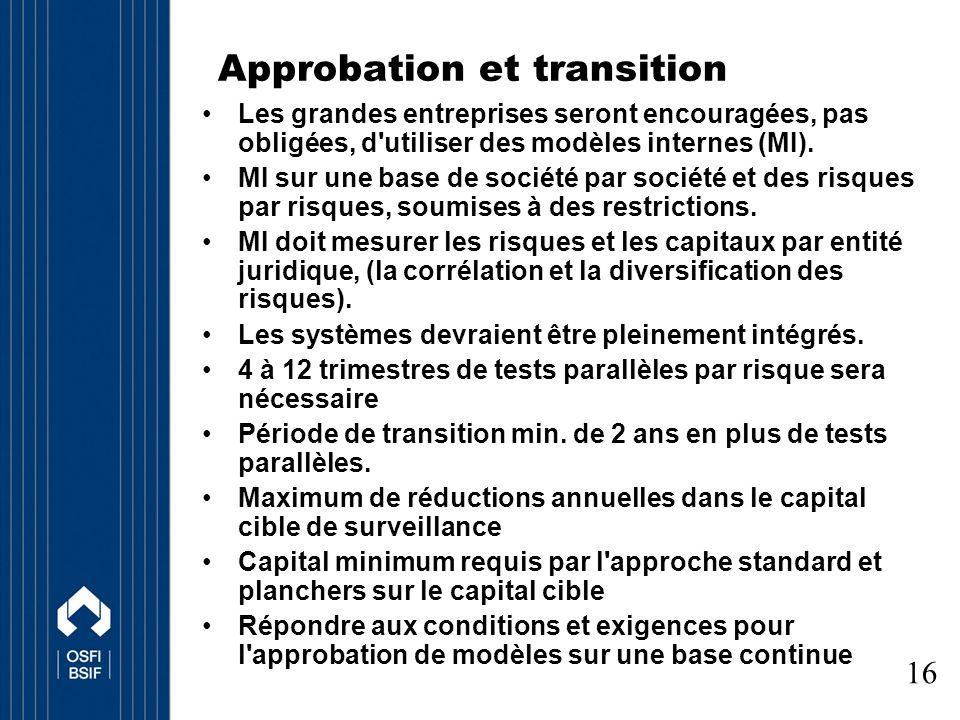 Approbation et transition Les grandes entreprises seront encouragées, pas obligées, d utiliser des modèles internes (MI).