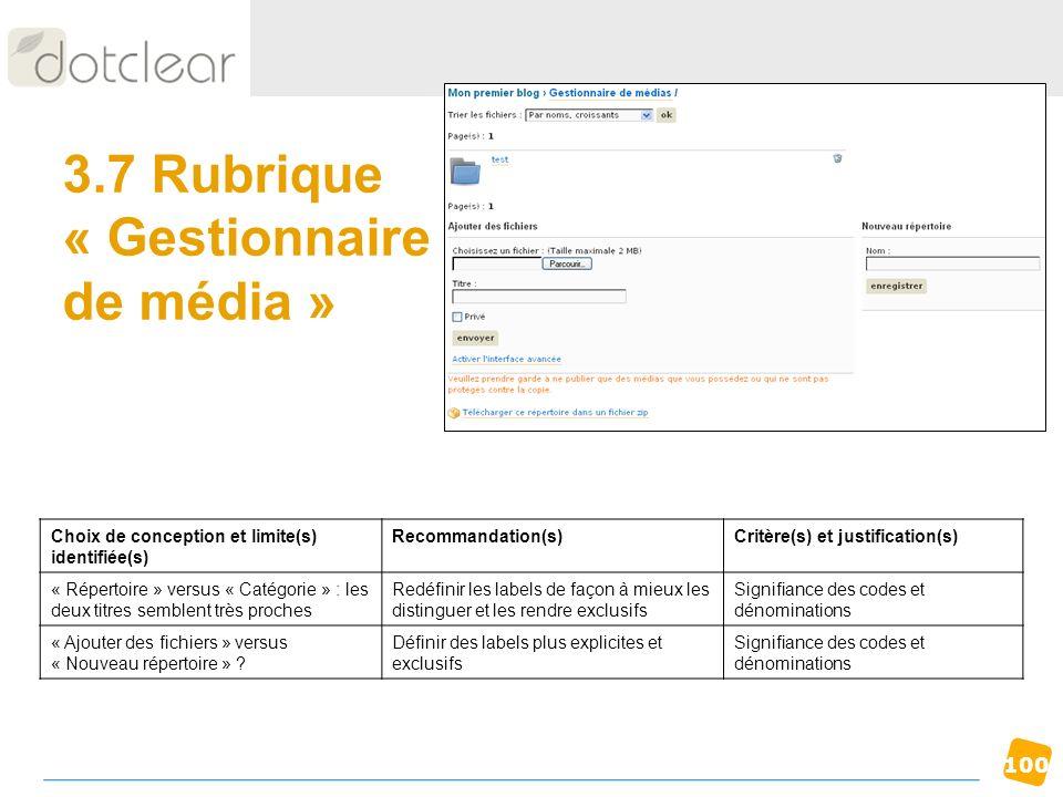 100 3.7 Rubrique « Gestionnaire de média » Choix de conception et limite(s) identifiée(s) Recommandation(s)Critère(s) et justification(s) « Répertoire