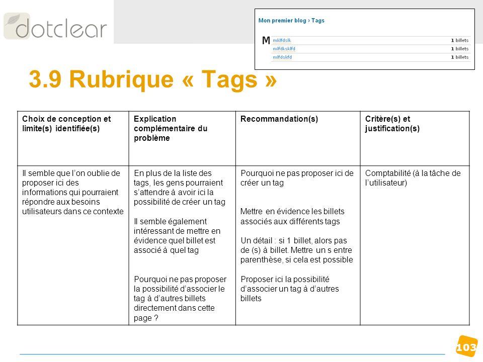 103 3.9 Rubrique « Tags » Choix de conception et limite(s) identifiée(s) Explication complémentaire du problème Recommandation(s)Critère(s) et justifi