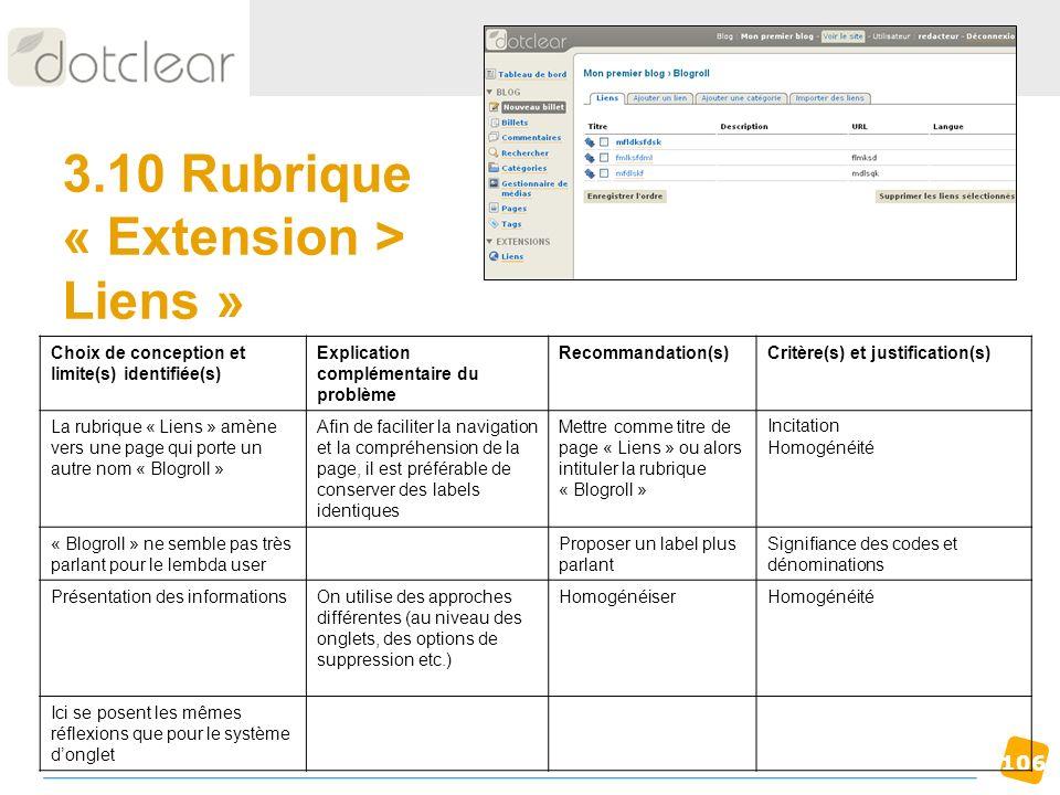 106 3.10 Rubrique « Extension > Liens » Choix de conception et limite(s) identifiée(s) Explication complémentaire du problème Recommandation(s)Critère