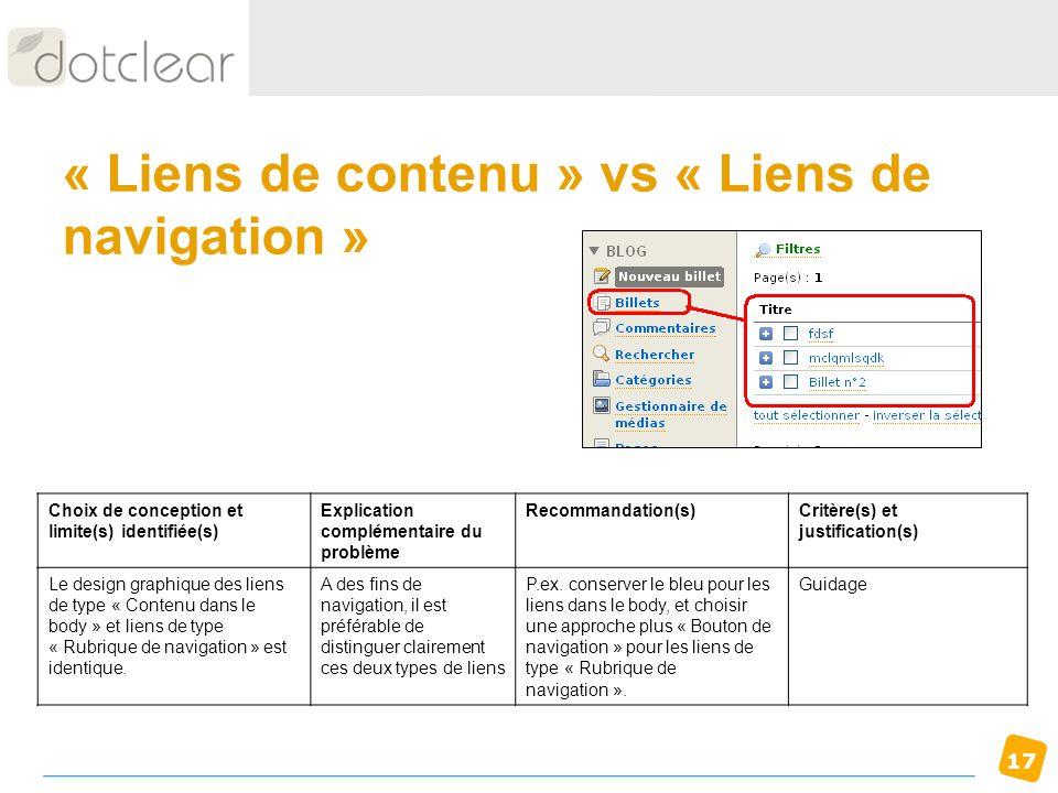 17 « Liens de contenu » vs « Liens de navigation » Choix de conception et limite(s) identifiée(s) Explication complémentaire du problème Recommandatio
