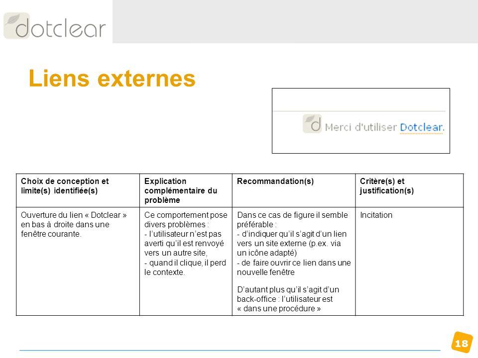 18 Liens externes Choix de conception et limite(s) identifiée(s) Explication complémentaire du problème Recommandation(s)Critère(s) et justification(s