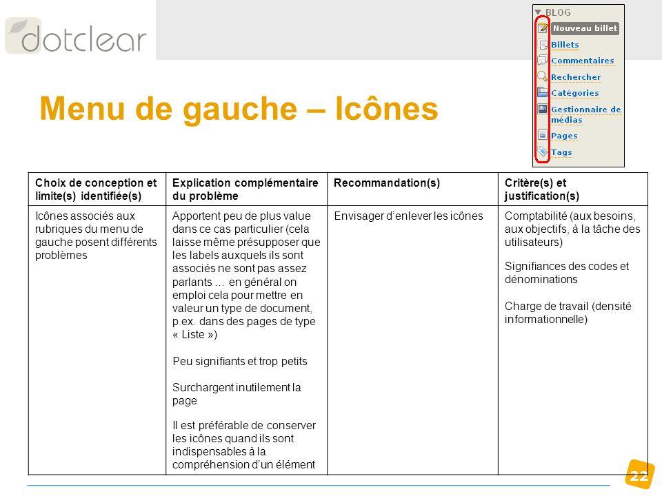22 Menu de gauche – Icônes Choix de conception et limite(s) identifiée(s) Explication complémentaire du problème Recommandation(s)Critère(s) et justif