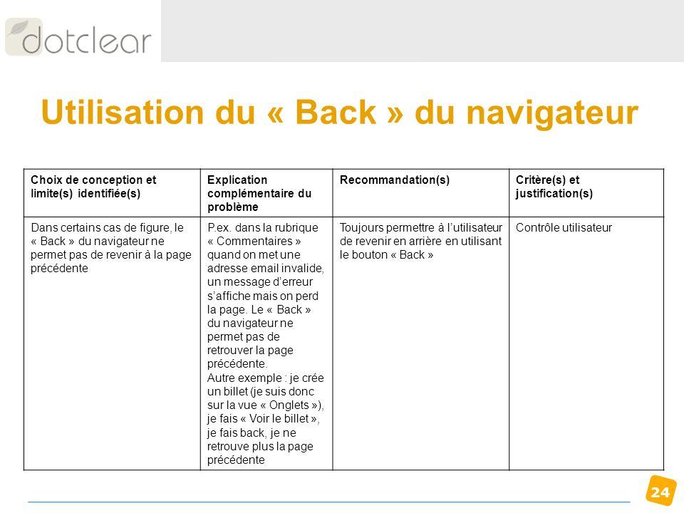 24 Utilisation du « Back » du navigateur Choix de conception et limite(s) identifiée(s) Explication complémentaire du problème Recommandation(s)Critèr