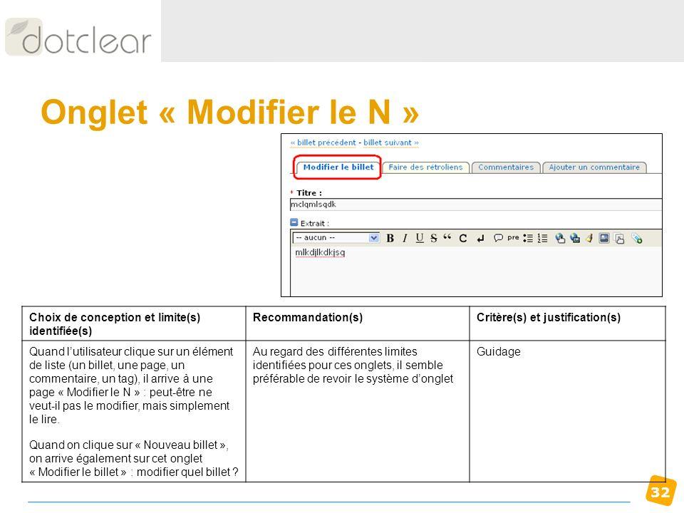 32 Onglet « Modifier le N » Choix de conception et limite(s) identifiée(s) Recommandation(s)Critère(s) et justification(s) Quand lutilisateur clique s