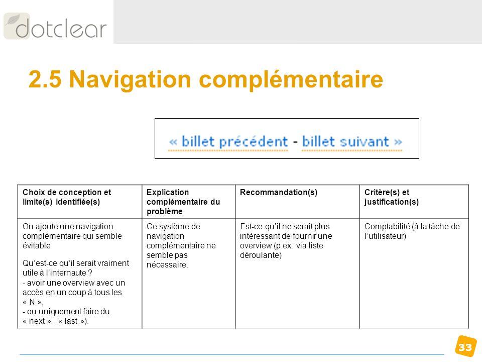 33 2.5 Navigation complémentaire Choix de conception et limite(s) identifiée(s) Explication complémentaire du problème Recommandation(s)Critère(s) et