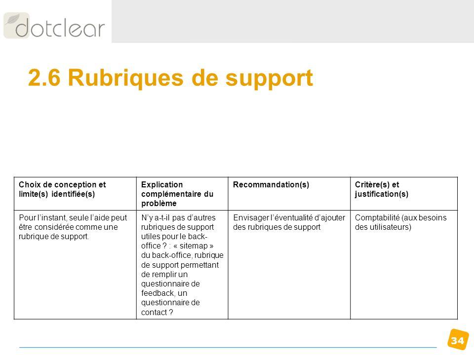 34 2.6 Rubriques de support Choix de conception et limite(s) identifiée(s) Explication complémentaire du problème Recommandation(s)Critère(s) et justi
