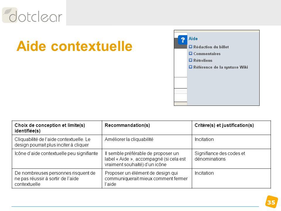 35 Aide contextuelle Choix de conception et limite(s) identifiée(s) Recommandation(s)Critère(s) et justification(s) Cliquabilité de laide contextuelle