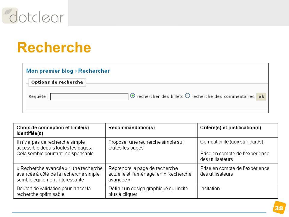 38 Recherche Choix de conception et limite(s) identifiée(s) Recommandation(s)Critère(s) et justification(s) Il ny a pas de recherche simple accessible