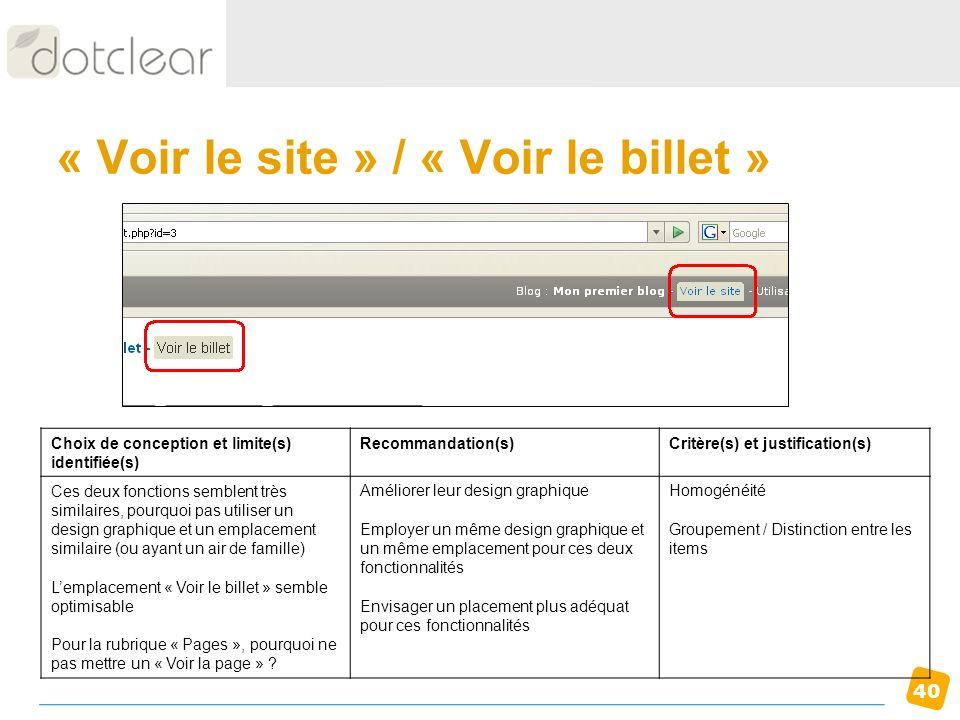 40 « Voir le site » / « Voir le billet » Choix de conception et limite(s) identifiée(s) Recommandation(s)Critère(s) et justification(s) Ces deux fonct