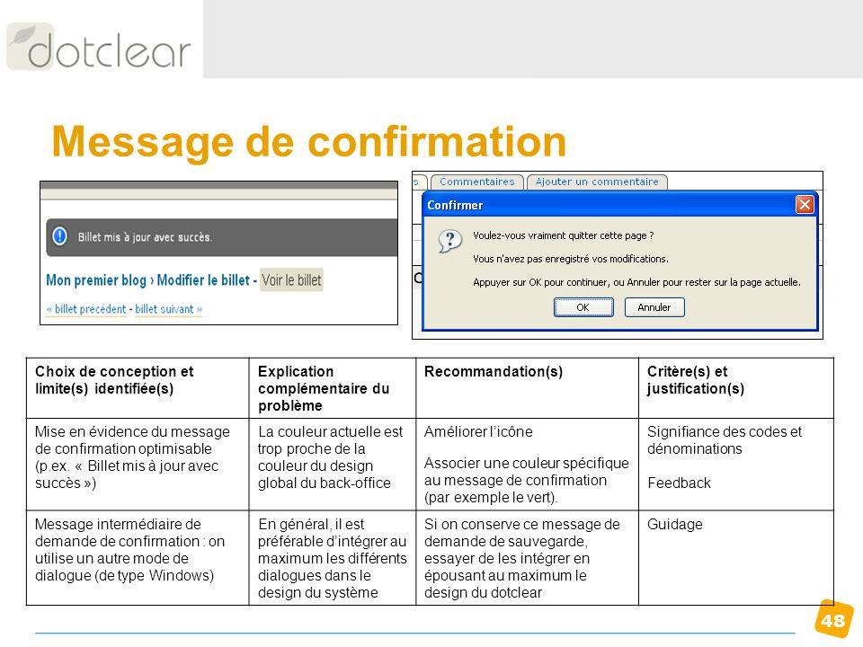 48 Message de confirmation Choix de conception et limite(s) identifiée(s) Explication complémentaire du problème Recommandation(s)Critère(s) et justif